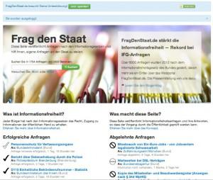 Das Portal FragDenStaat um Anfragen nach den Informationsfreiheitsgesetz zu stellen./CC (Foto): Screenshot – Christopher Bohlens