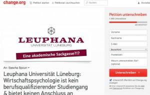 Petitionen bei Change.org – Ein Beispiel mit Bezug zur Leuphana/ (c) Foto: Christopher Bohlens