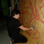 Graffiti-Kunst im Hörsaalgang / (c) Foto: Pia Köber