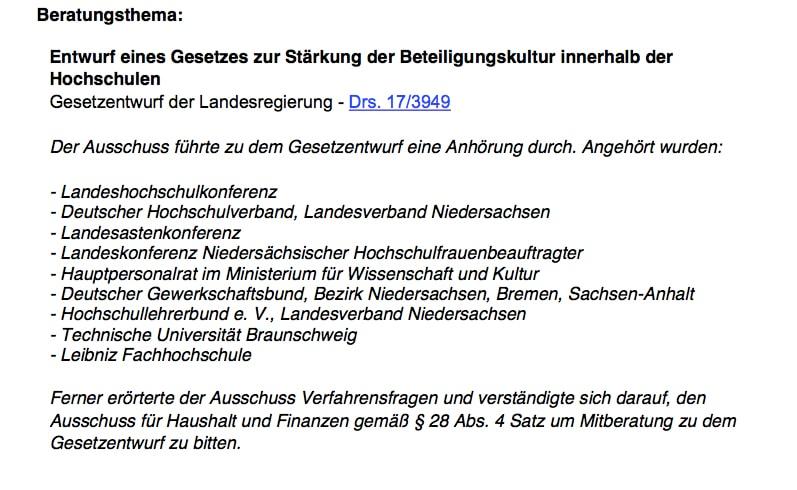 Der Ausschuss für Wissenschaft und Kultur des LT Niedersachsen beschäftigte sich mit den Anhörungen / (C) Christopher Bohlens
