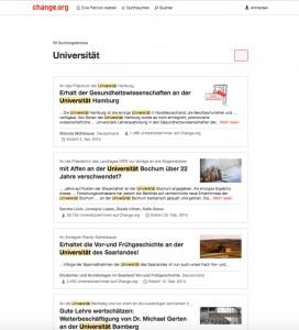 Petitionen bei change.org mit Bezug zur Universität / (C) Christopher Bohlens