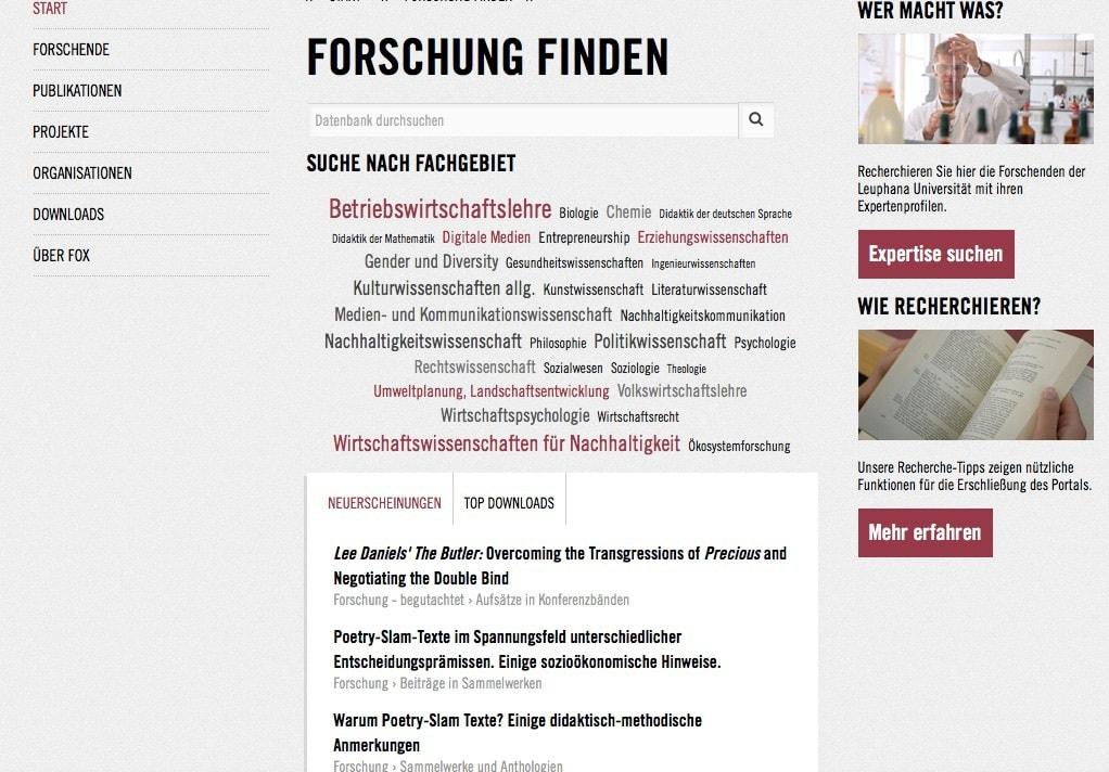 Screenshot der Leuphana Webseite zum Thema Forschungsdatenbank / (C) Christopher Bohlens / Leuphana Uni Lüneburg