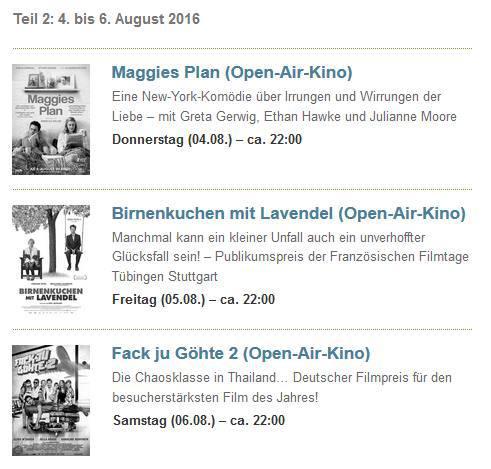 Programm des Open Air Kinos / (C) Scala