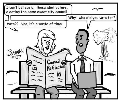 Voter Apathy Bearman Cartoon / (C) flickr - Bearman2007