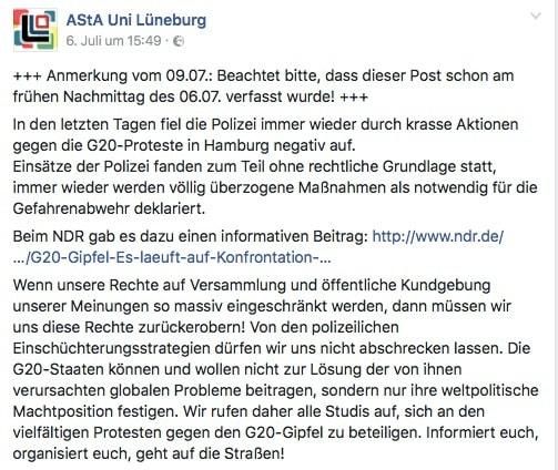 AStA polarisiert mit G20-Post