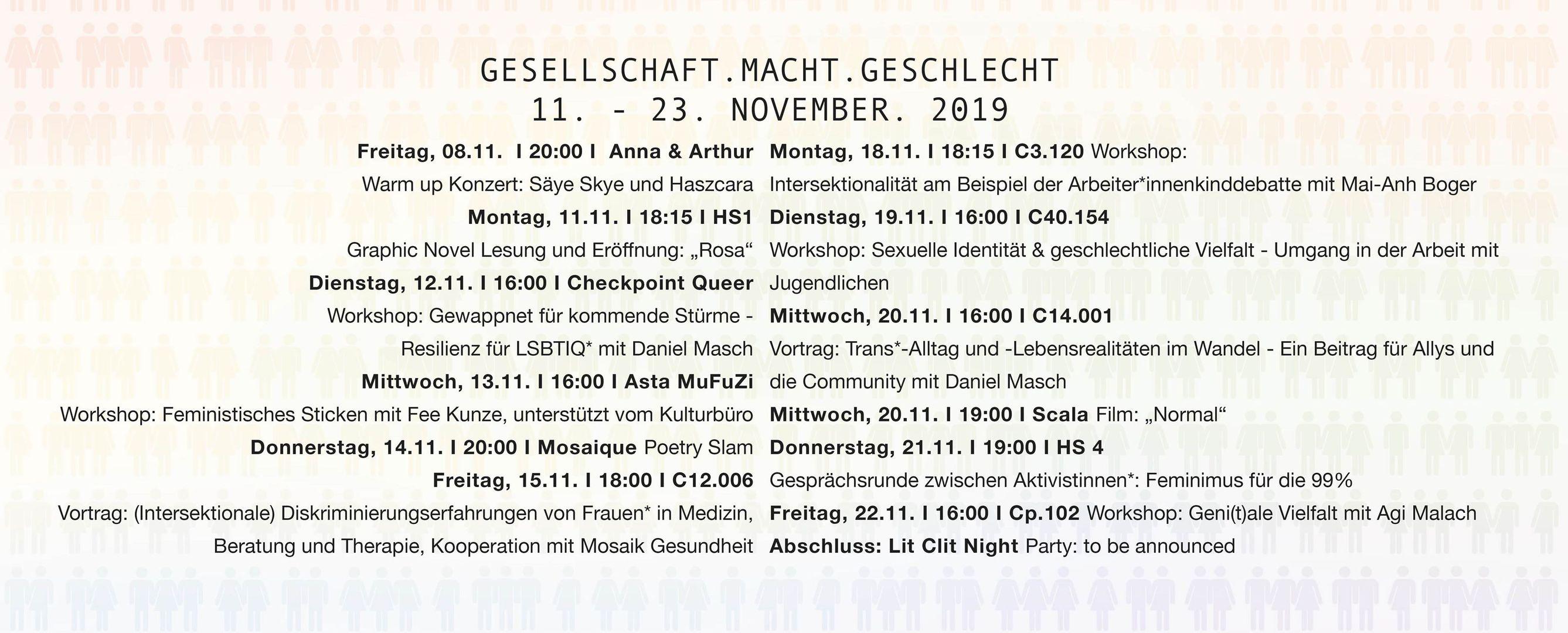 Programm Aktionstage Gesellschaft.macht.geschlecht - AStA Uni Lüneburg