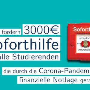 Petition gestartet - Soforthilfe für Studierende - 3.000 Euro für finanzielle Notlagen
