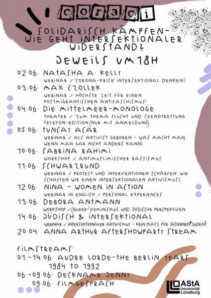 Übersicht Coraci Festival 2020 - (c) AStA Uni Lüneburg
