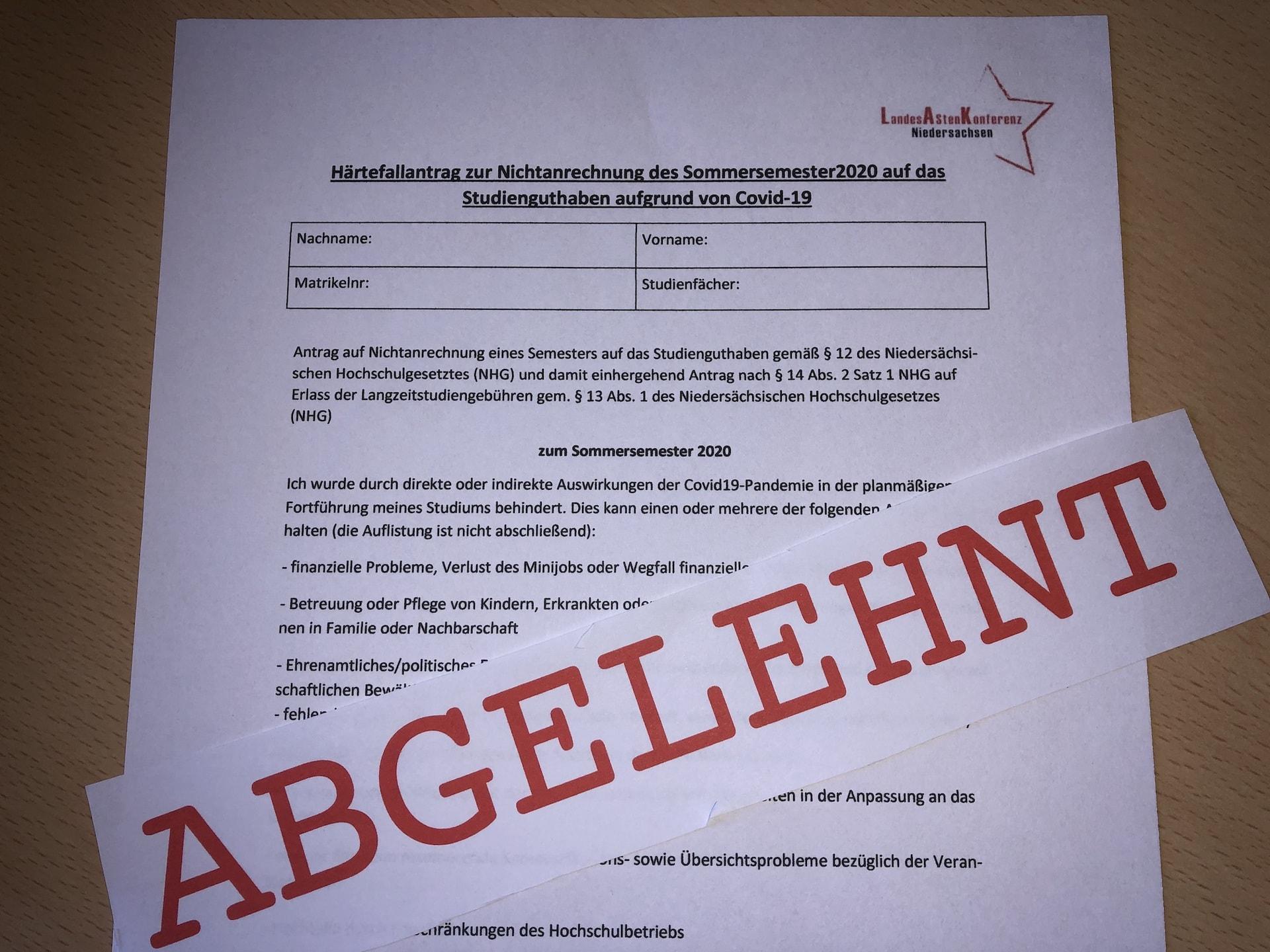 Härtefallantrag LAK Niedersachsen Nichtanrechnung SoSe 2020 - (c) Christopher Bohlens