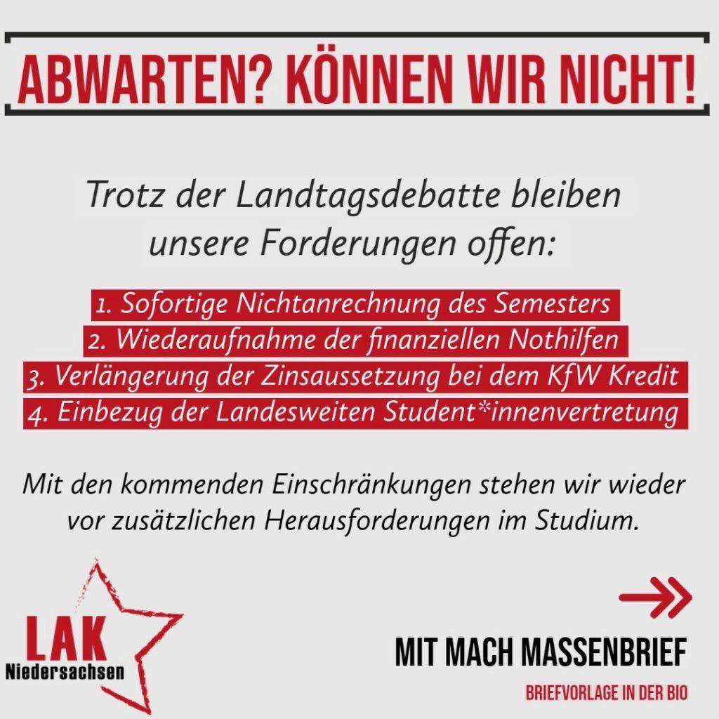 LAK Niedersachsen veröffentlicht Massenbrief für Forderungen zur Nicht-Anrechnung des Semesters